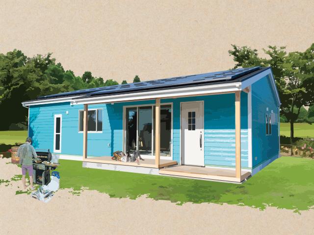 鮮やかなブルーの外観に真っ白なドア&ぬくもりを感じるウッドデッキ