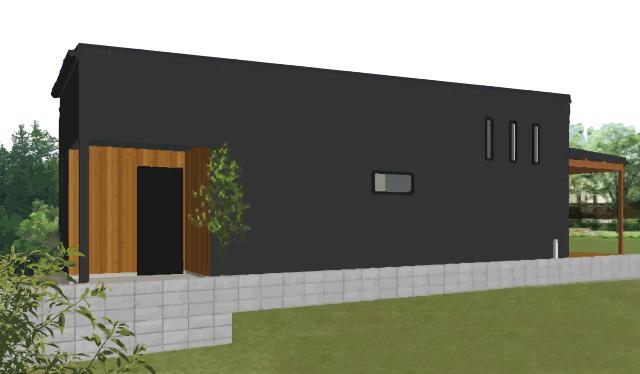 ダークカラーの外壁にウッドウォールがアクセントのシンプルな平屋